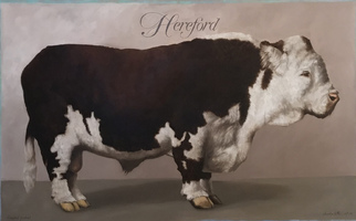 "<strong>Hereford portrait </strong><span class=""dims"">48x30""</span>oil on linen"