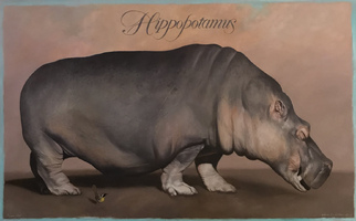 "<strong>Hippo, bird </strong><span class=""dims"">48x30""</span>oil on linen"