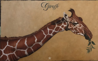 "<strong>Giraffe, leaves, star </strong><span class=""dims"">48x30""</span>oil on linen"