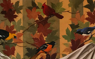 "<strong>Wallpaper with birds and leaves</strong> <span class=""dims"">24x38""</span> oil on linen"