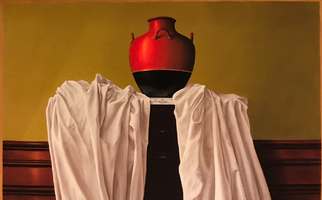 "<strong>White cloth, black and red vessel</strong> <span class=""dims"">48x38""</span> oil on linen"
