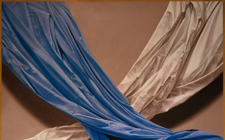 "<strong>White sheet, blue sheet</strong> <span class=""dims"">48x38""</span> oil on linen"