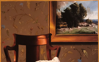 "<strong>Chair, robe, grey wallpaper</strong> <span class=""dims"">30x38""</span> oil on linen"