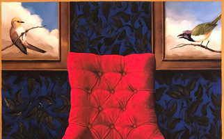 "<strong>Red chair, blue wallpaper</strong> <span class=""dims"">30x38""</span> oil on linen"