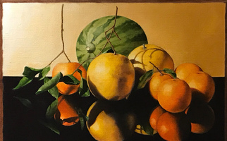 "<strong>Citrus, leaves, reflections</strong> <span class=""dims"">20x14""</span> oil on linen"
