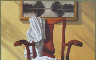 "<strong>Two white robes</strong> <span class=""dims"">30x36""</span> oil on linen"